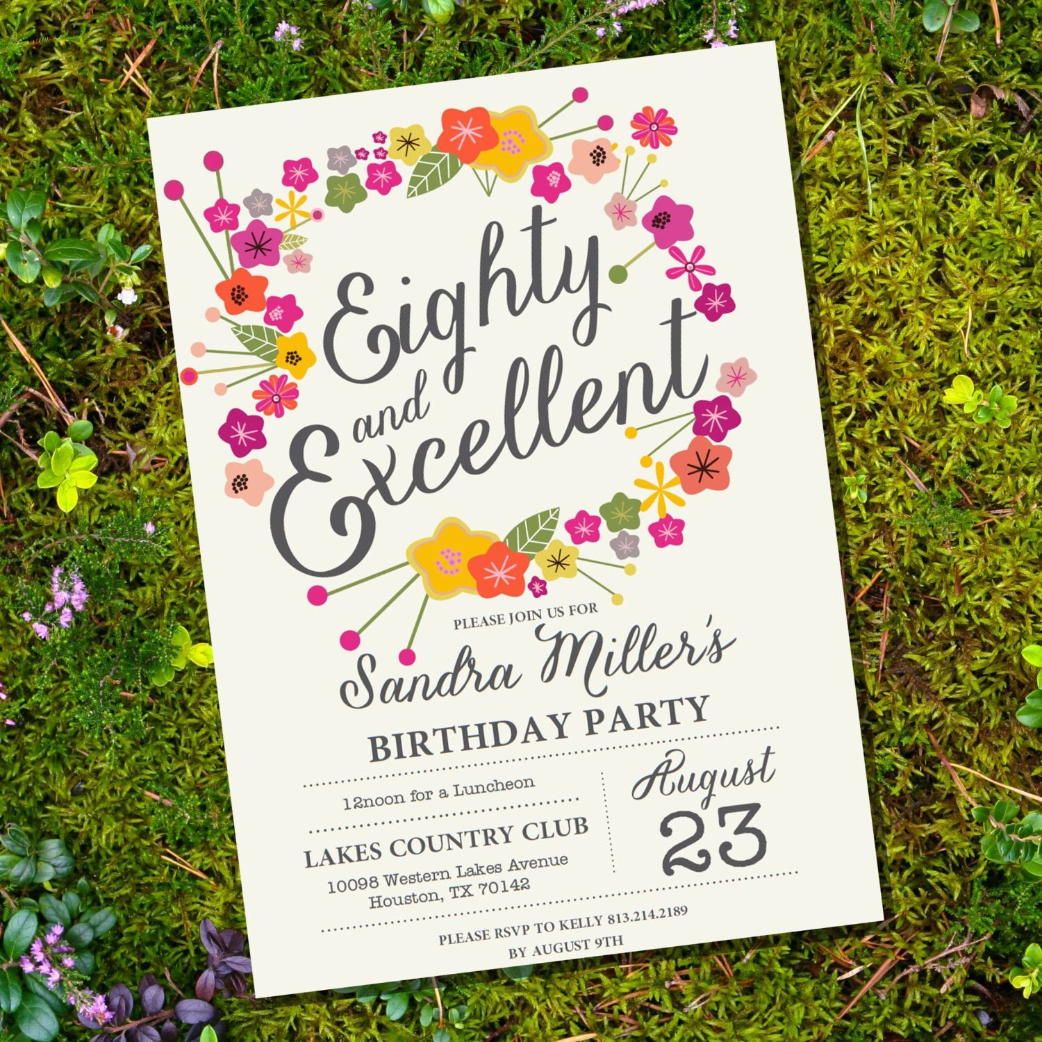 80th Birthday Invitations Templates Free Floral Eightieth Birthday Invitation 80th Birthday