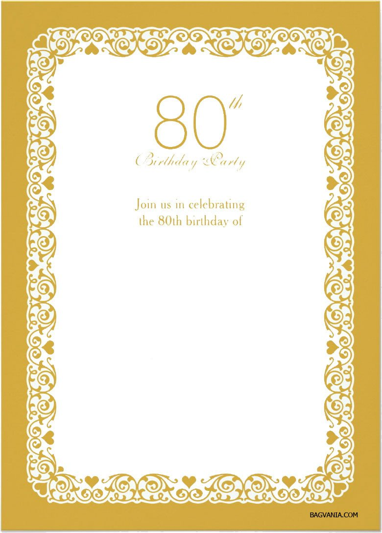 Free Printable 80th Birthday Invitations – FREE Printable