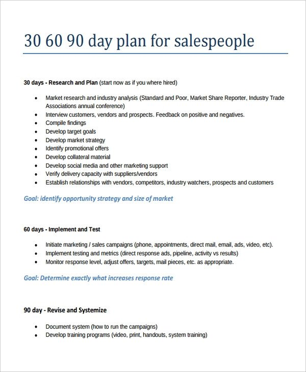 22 30 60 90 Day Action Plan Templates Free PDF Word