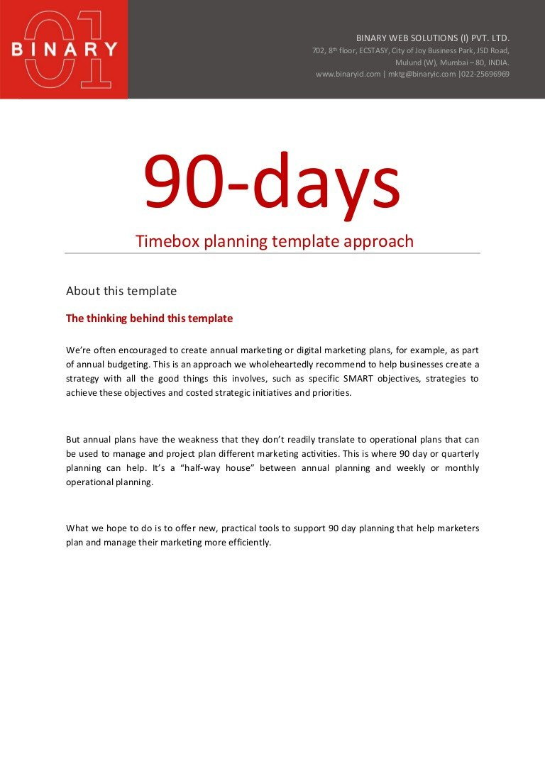 90 Day Sales Plan 90 Day Planning Template Approach