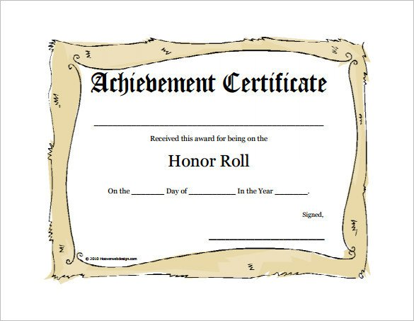 A Honor Roll Certificate 8 Printable Honor Roll Certificate Templates & Samples