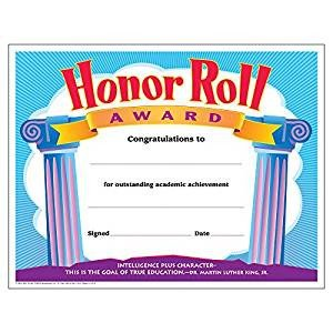 A Honor Roll Certificate Amazon Trend Enterprises Inc Honor Roll Award