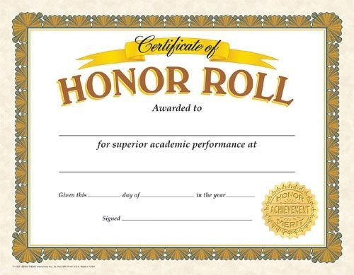 A Honor Roll Certificate Certificate Of Honor Roll Reward Your Students for their