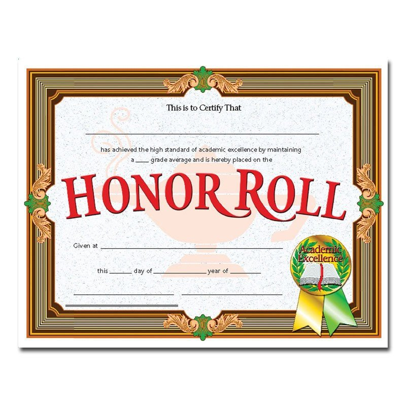 A Honor Roll Certificate Certificates Honor Roll Gold Banner