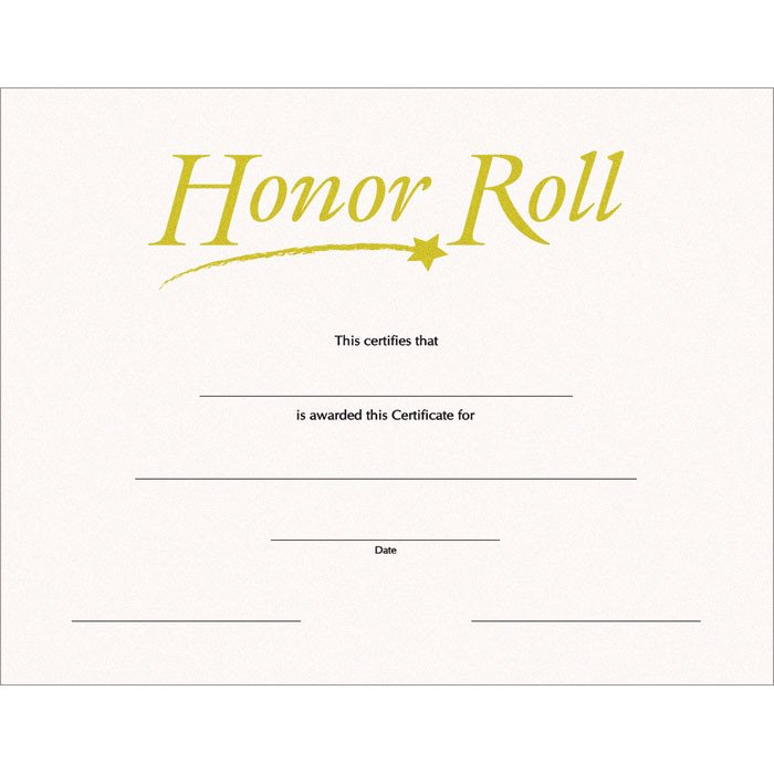Honor Roll SW Certificate Jones School Supply