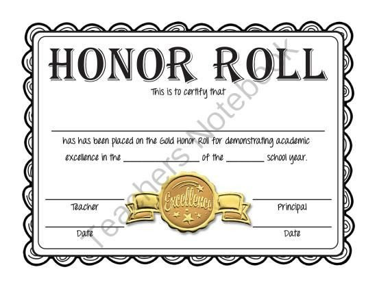 A Honor Roll Certificate Superstar Classroom and Bronze On Pinterest
