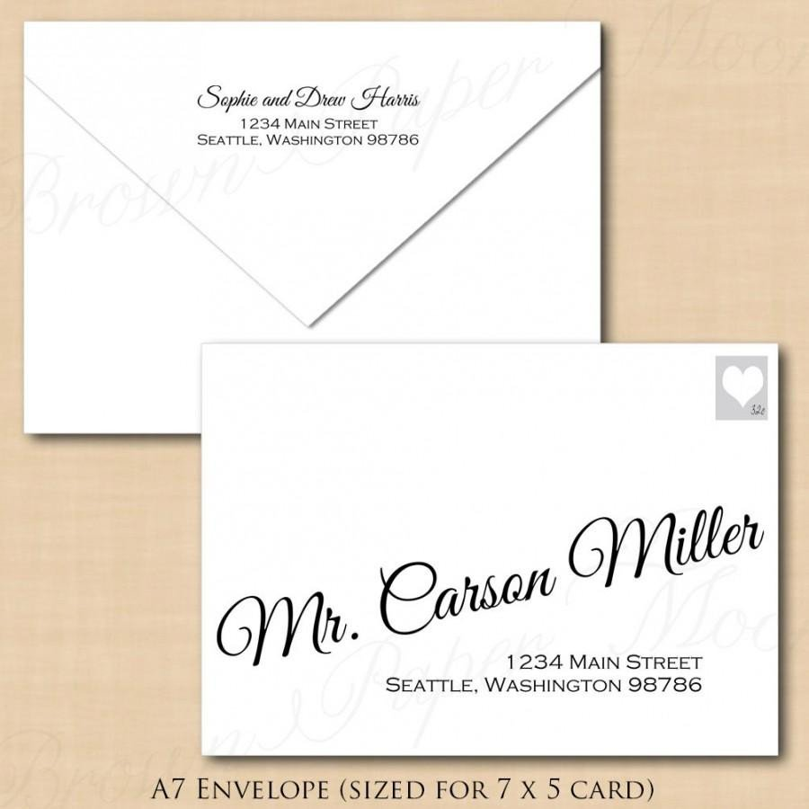 A7 Envelope Template Word Change All Colors Calligraphy Address Wedding Envelope