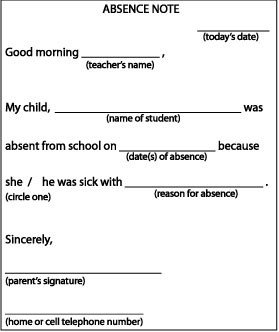 Absence Letter for School Absence Note