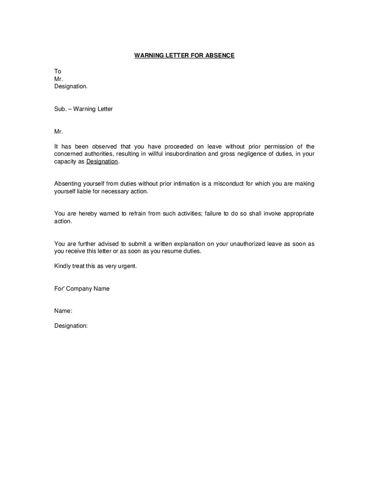 Absence Letter for School Absence without Intimation Warning Letter format