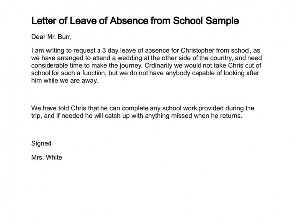 Absence Letter for School What is A Good Sample Letter to Write An Absence From