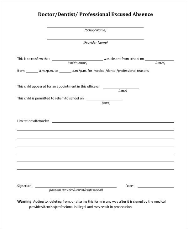 Absence Note for School 37 Free Doctors Note Templates