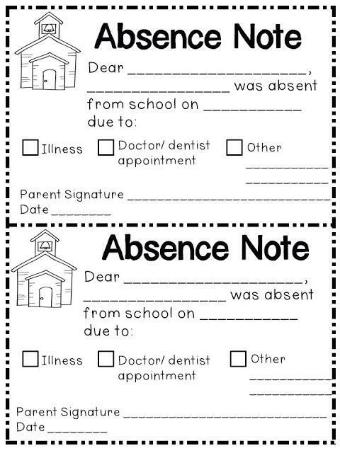 Absent Letters for School Absence Note Printable Printable