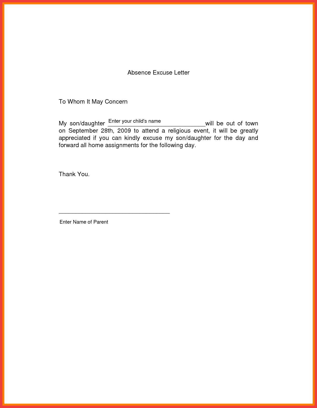 Absent Letters for School School Excuse Letter Sample