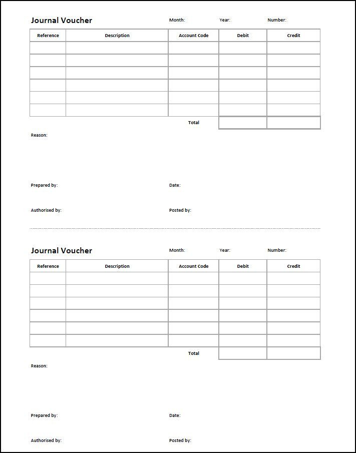 Accounting Journal Entry Template Journal Voucher Template