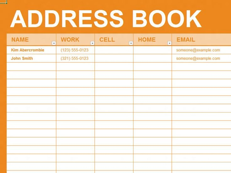 Address Book Template Excel Free Excel Template Personal Address Book