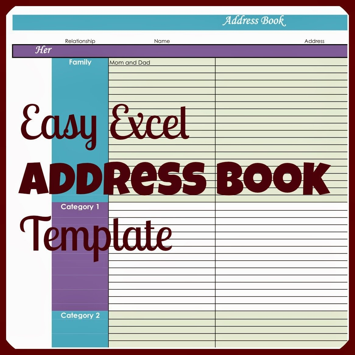 Address Book Template Excel Laura S Plans Easy Excel Address Book Template