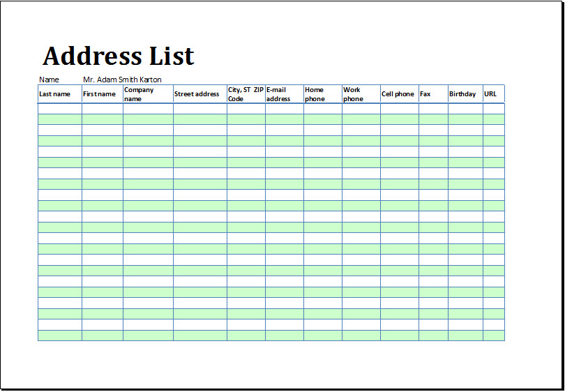 Printable Address List Book Template for MS Excel