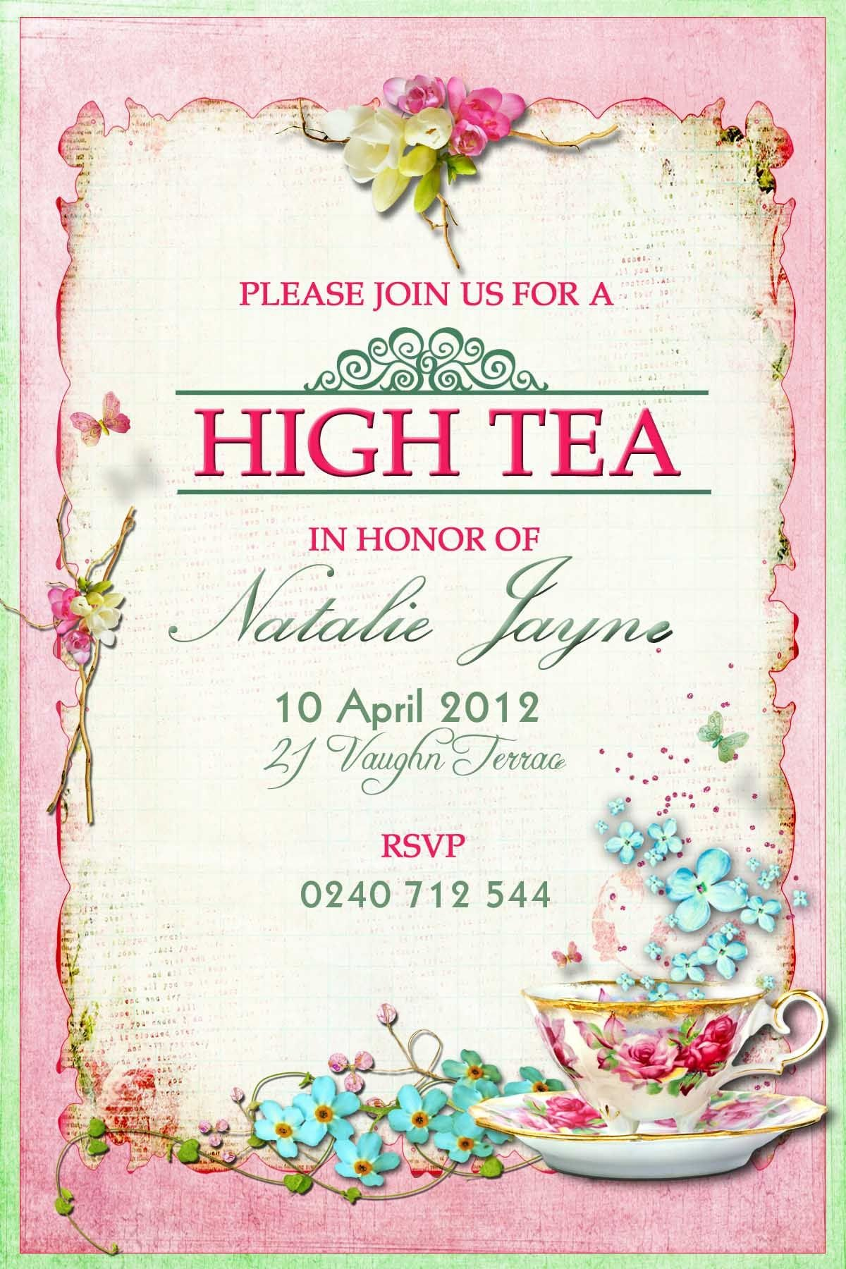 Victorian High Tea Party Invitations Surprise Party
