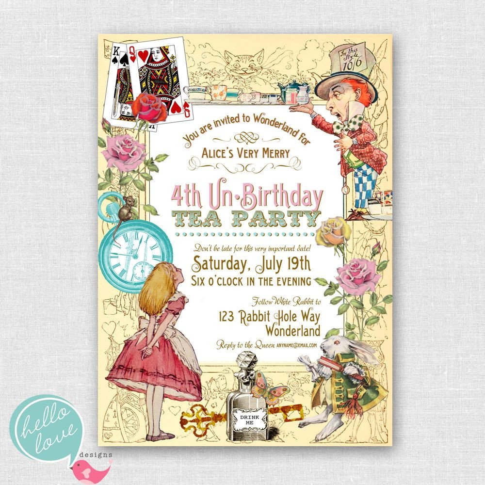 Alice In Wonderland Birthday Party Invitations Free