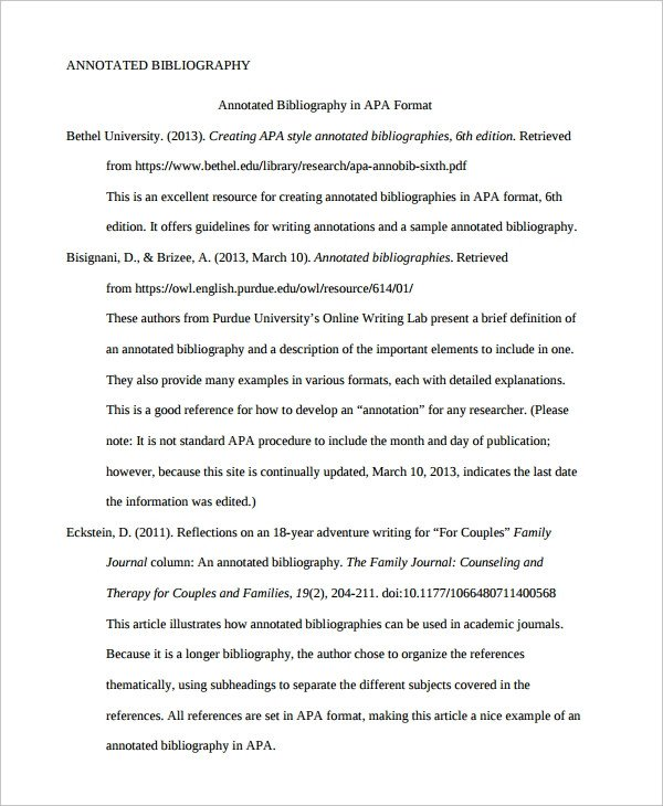 Annotated Bibliography Template Apa 10 Annotated Bibliography Free Sample Example format