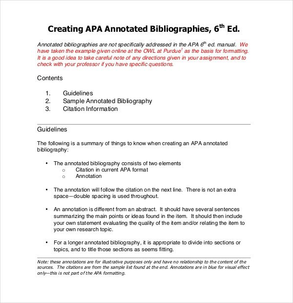 Annotated Bibliography Template Apa 10 Free Annotated Bibliography Templates – Free Sample