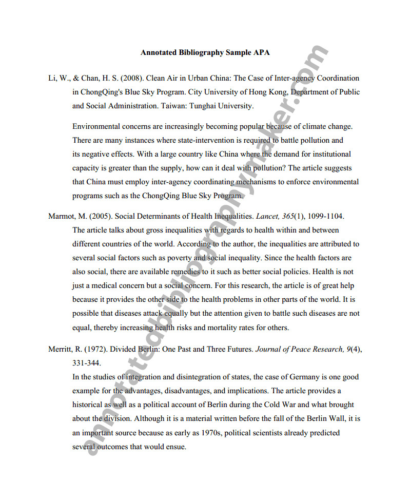 Annotated Bibliography Template Apa Annotated Bibliography Apa