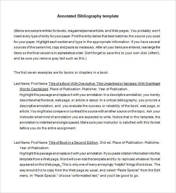 Annotated Bibliography Template Apa Apa Annotated Bibliography Template
