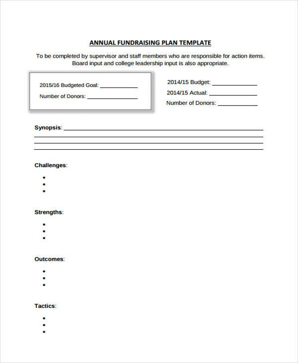 Annual Fundraising Plan Template 33 Plan Templates In Pdf