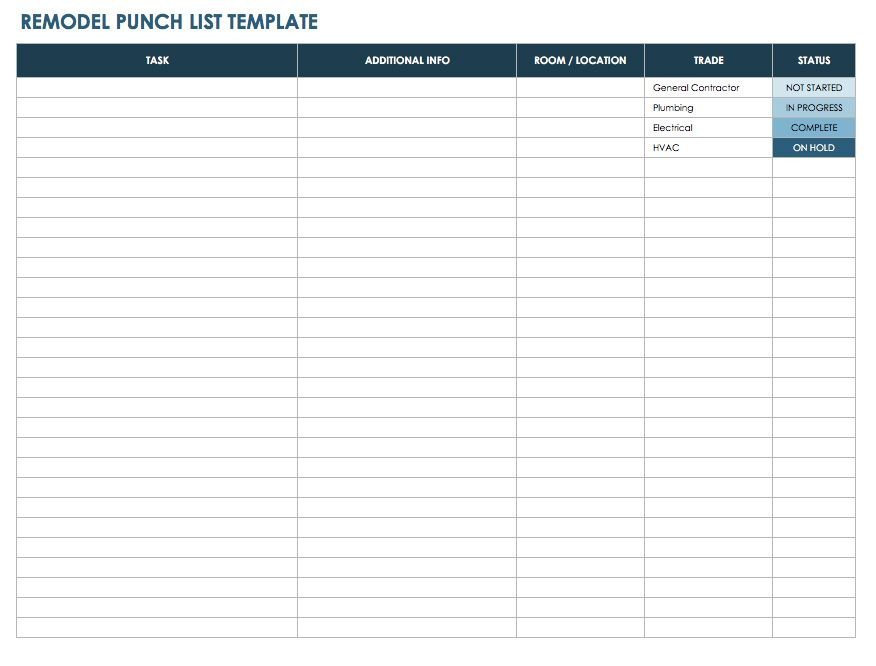 Free Punch List Templates