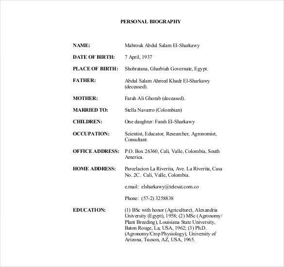 Army Board Bio Example 25 Biography Templates Doc Pdf Excel