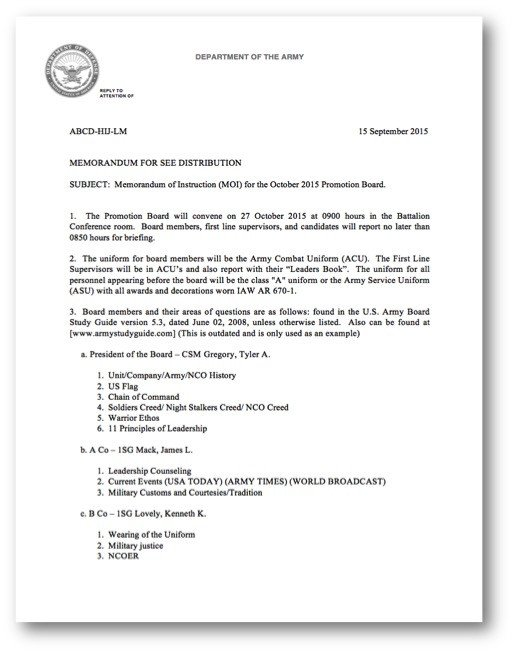 Army Board Bio Example Administrative Paperwork Army Board Guidance