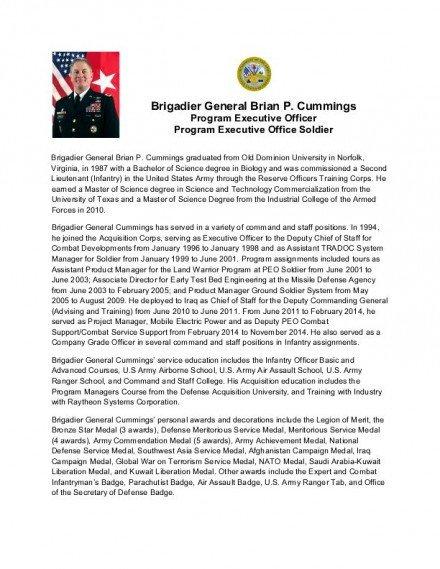 Army Board Bio Example Bg Brian P Cummings assumes Duties as Program Executive