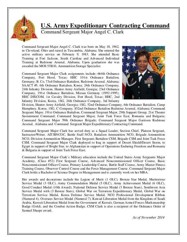 Army Board Bio Example Biography Csm Angel Clark Ecc Mand Sergeant Major