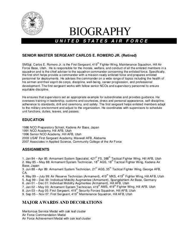 Army Board Bio Example Military Bio Carlos Romero Jr