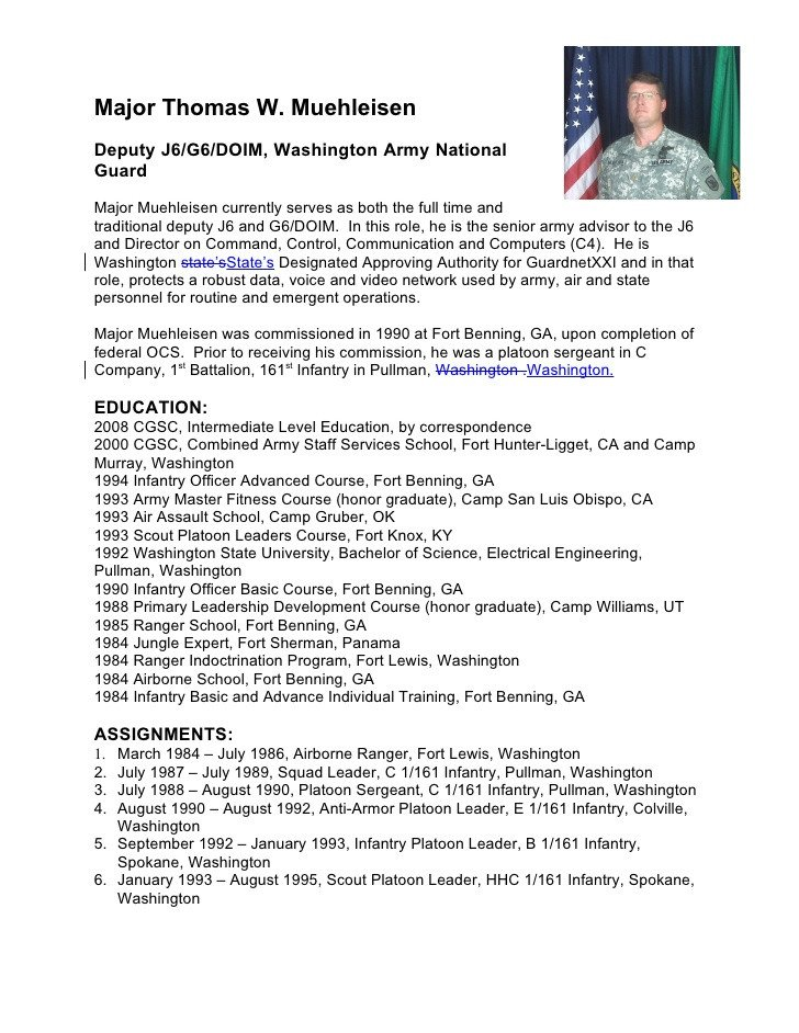 Army Board Bio Example Military Biography