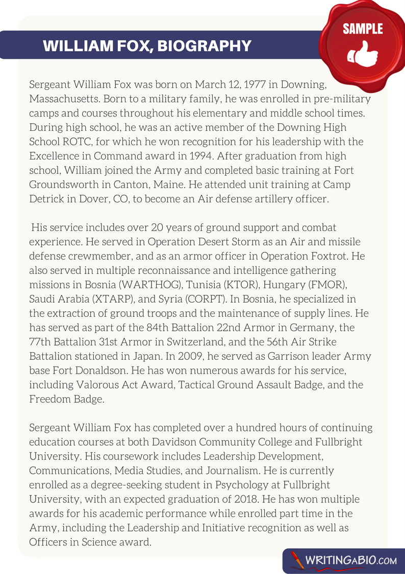 Army Board Bio Example Writing A Military Bio with Our Help