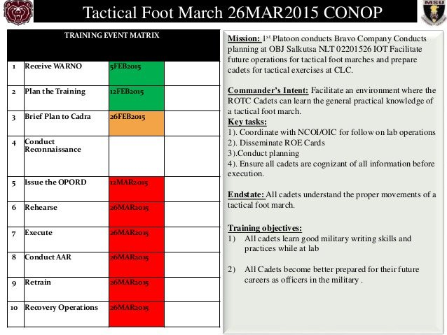 Army Conop Example Tactical Foot March Conop 3
