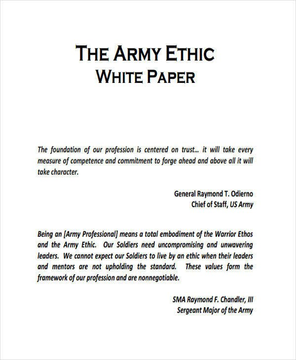 Army White Paper format 35 Sample White Papers