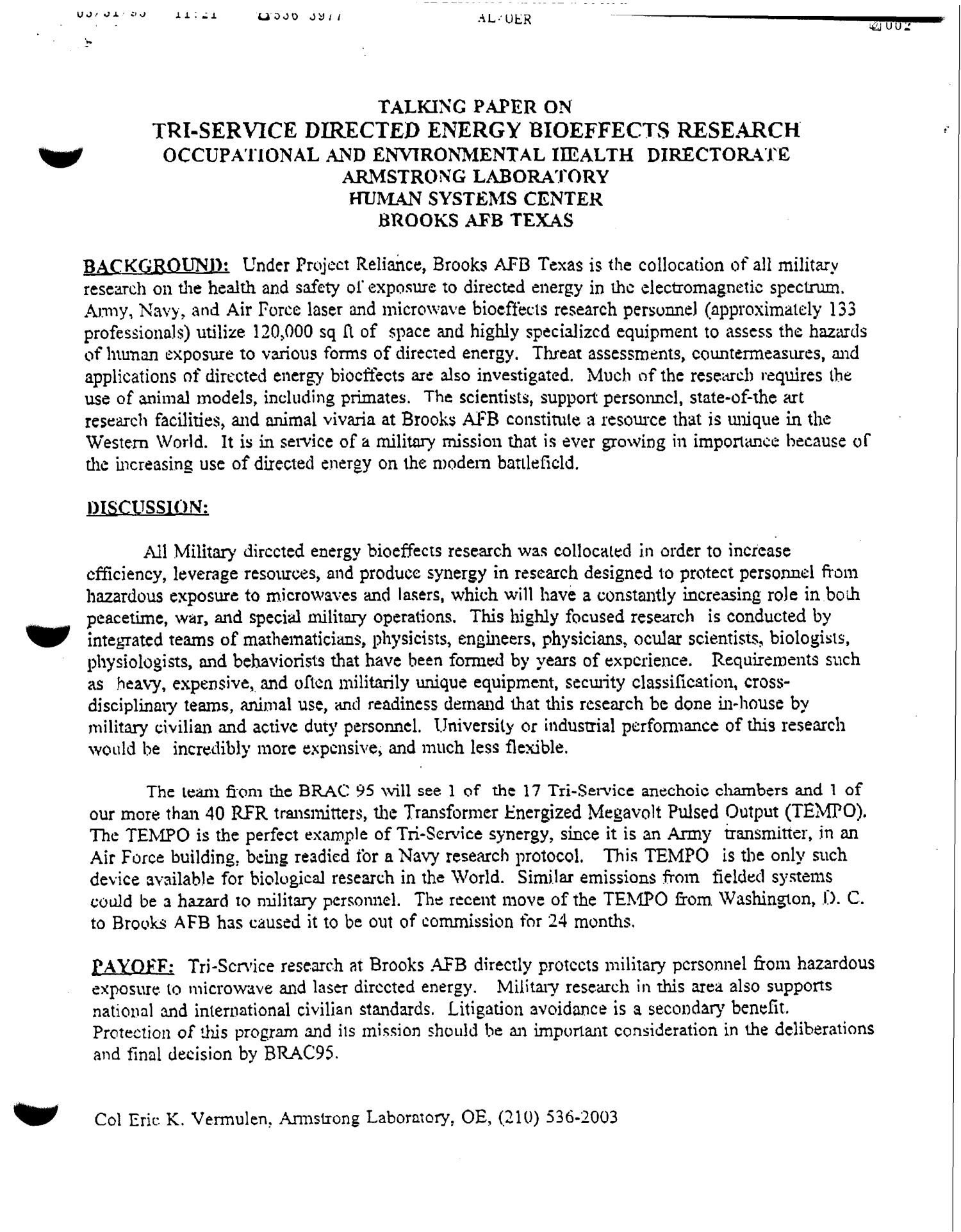 Army White Paper format Brooks Air force Base Analysis and Re Mendations