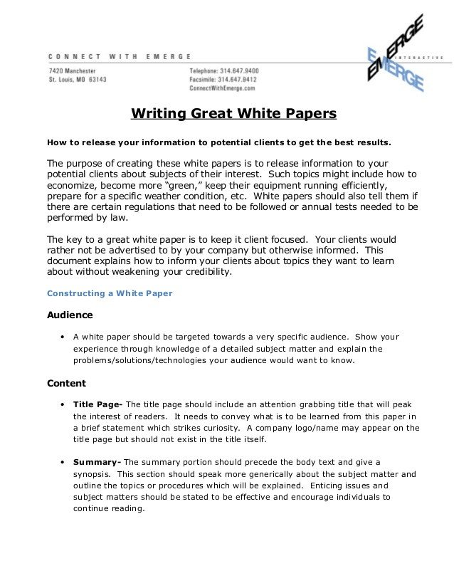 Army White Paper format How to Write A Great White Paper