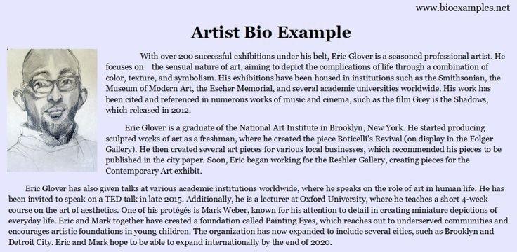 Artist Bio Template Word Artist Bio Example Bio Examples
