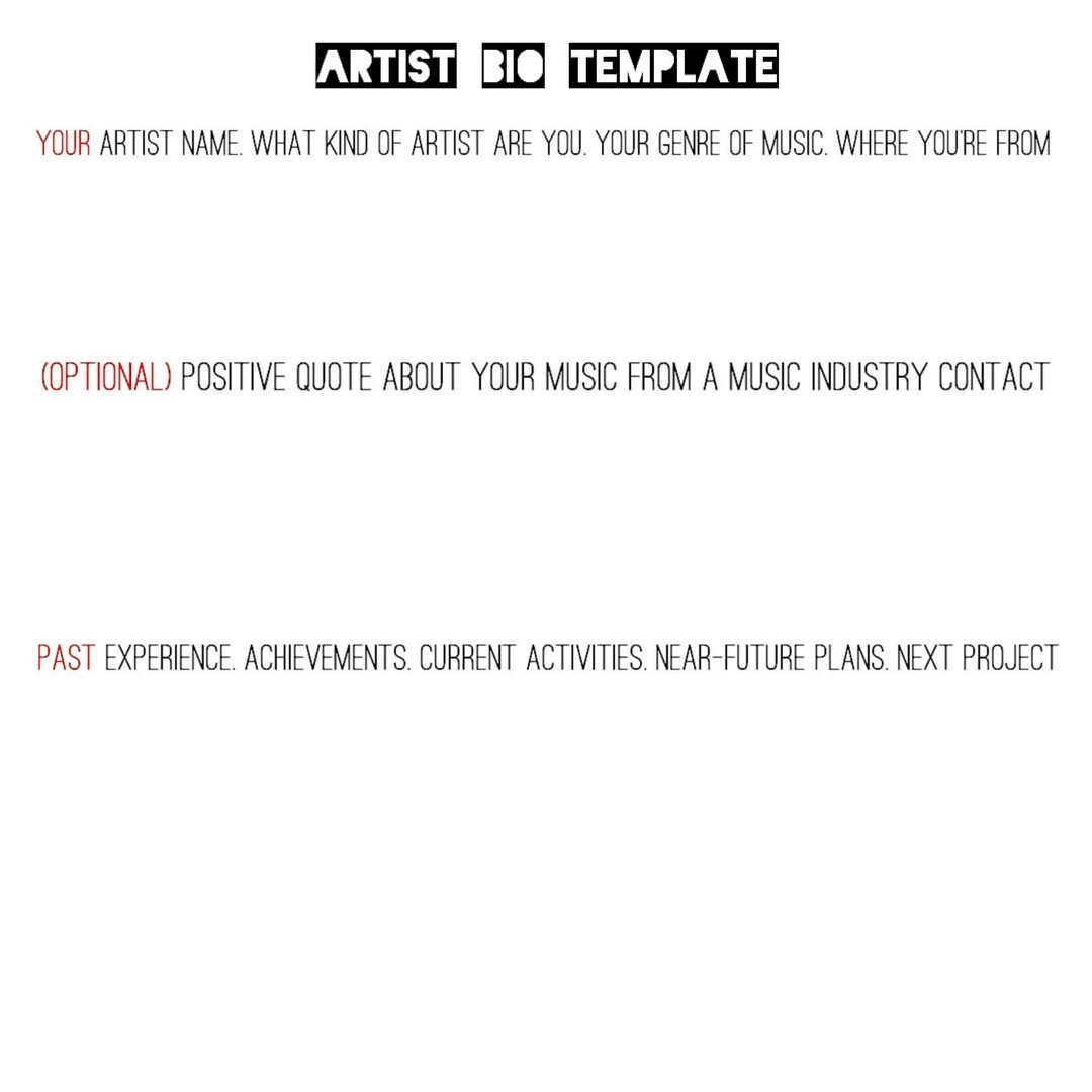 Artist Bio Template Word Music Production Promotion Creative and Digital