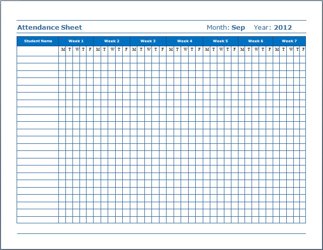 Attendance Sheet Template Excel 3 attendance Excel Templates Word Excel formats