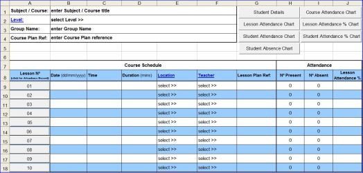 Course Attendance Excel Template