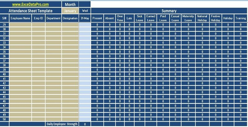 Attendance Sheet Template Excel Download Employee attendance Sheet Excel Template