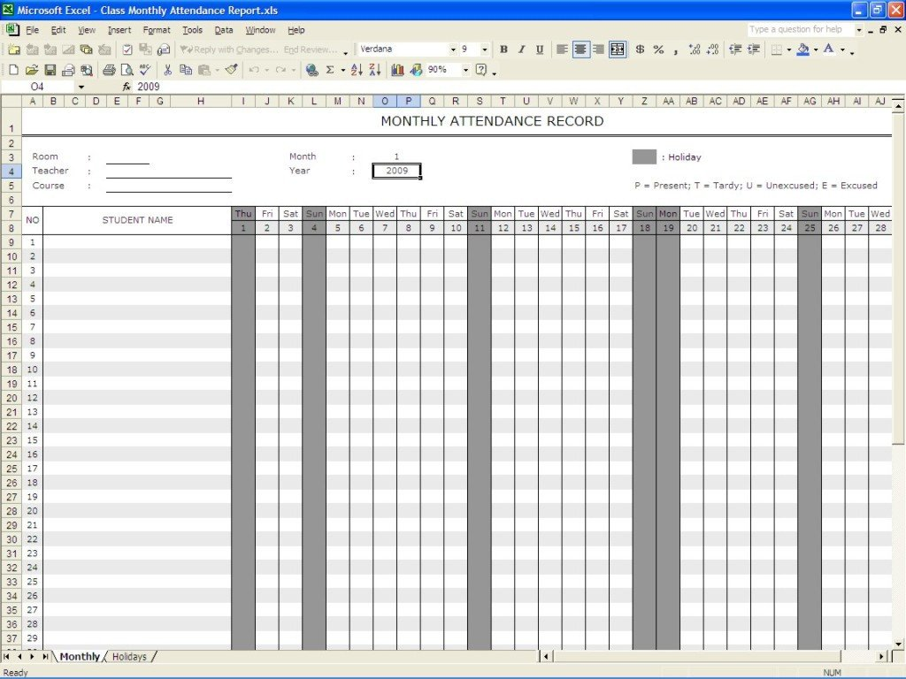 Attendance Sheet Template Excel Perfect Monthly attendance Sheet Record Template In Excel