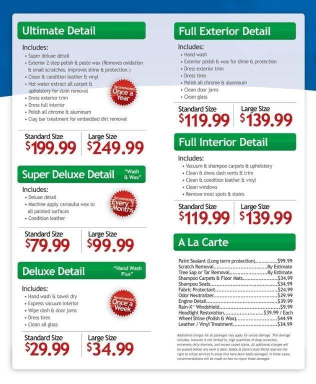 Auto Detail Price List Template Auto Detailing Price List Template
