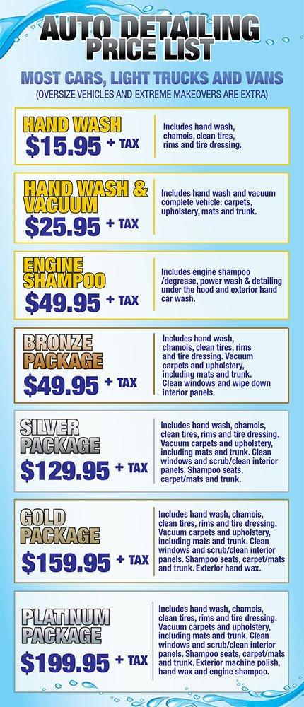 Auto Detail Price List Template Auto Detailing Services