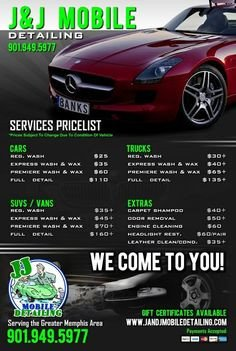 Auto Detail Price List Template Car Detail Flyer Template Free Google Search