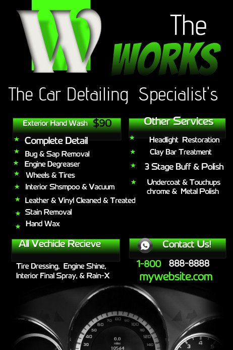 Auto Detail Price List Template Car Detailing Template